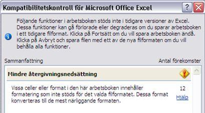 Excel-Återgivningsnedsättning