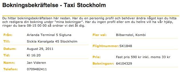 Taxi Stockholm bekräftelse