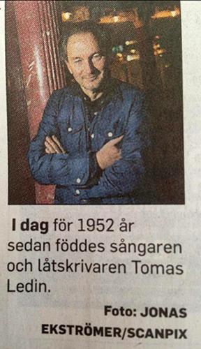 Tomas Ledin 1952 år gammal