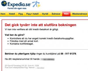 Felmeddelande vid Expedia kortbetalning