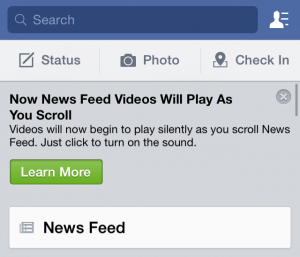 Facebook video auto-play
