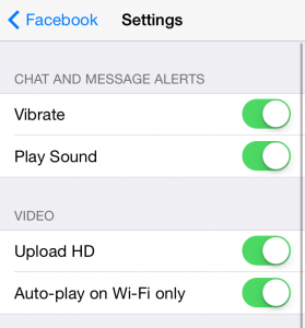 Facebook video auto-play setting